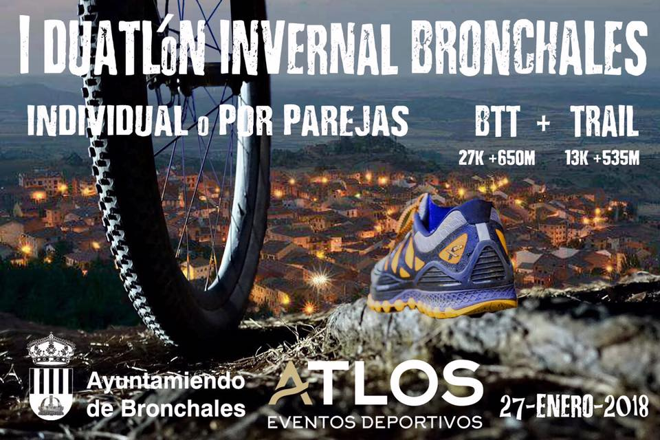 Fotografía del primer cartel del duatlón invernal de bronchales en la Sierra de Albarracín.