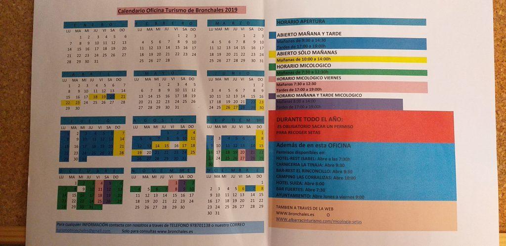 Imagen del horario de apertura de la oficina de turismo de Bronchales.